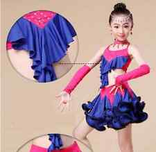 Children's Girls Kids Latin Salsa Dance Ballroom Dress Ice Skating Costume 6PCS