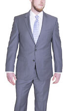 Kenneth Cole New York Slim Fit Light Gray Striped Two Button Wool Suit