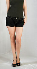 Paris Blues Black Cotton Stretch Shorts Embroidered Pockets Juniors Low Rise New