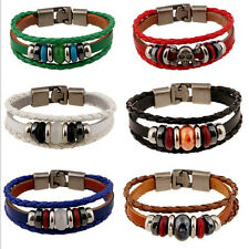 Punk Couple Lovers Women Men Hand-woven PU Leather Bracelet Wristband Multicolor