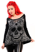 Candy Skull Longsleeve Ladies Top black cut-out shoulders cosy punk emo *BANNED*