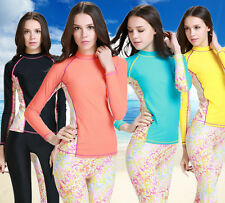 Womens Rash Guard Shirt Long Sleeve Surf Swim Top Lycra Swimwear Shirt  UV SPF