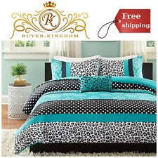 Girls Rainbow Leopard Comforter Set Wild Animal Multi Safari Bed Teens Bedroom