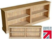 "Low Pine Bookcase, 2ft 4"" x 6ft Adjustable Display Shelves in Medium Oak Wax"