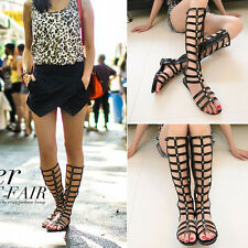 New Womens Europe Strappy Knee High Boots Open Toe Gladiator Zipper Flat Sandals