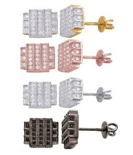 Sterling Silver Iced Out Square Cut  Micro Pave CZ 925 Bling Stud Earrings Screw