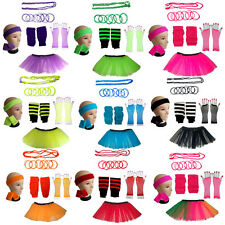 NEON TUTU COMPLETE SET GLOVES LEGWARMERS BEADS BANGLES WRISTBANDS HEADBAND