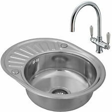 ENKI Single Bowl Inset Round Stainless Steel Kitchen Sink Drainer + Classic Tap