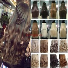 US Extra Long Curly Wavy Straight 3/4 Full Head Clip In Hair Extension one piece