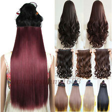Long Ombre Hair extensions Clip in Hair Extension Synthetic Black Brown Red sn57