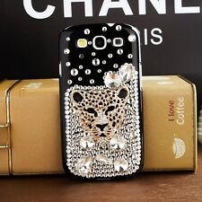 Awesome Leopard Head Bling Crystal Rhinestone Back Cover Case For Samsung Galaxy