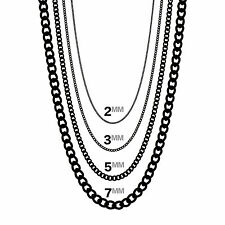 Men's and Women's Black Curb Chains Link Cuban Necklace Stainless Steel