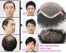 Hair replacement system Toupee Real natural human Swiss Lace More style & size