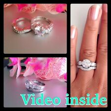 His&Hers 4.CT 3 Pieces Wedding Set Engagement Ring Diamond  Ring Made in Italy