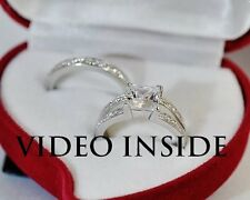 2.85CT Engagement Ring Set Wedding Diamond Ring Platinum Made in italy Size 6