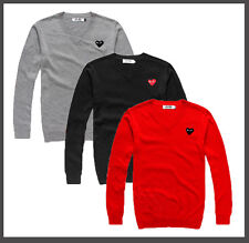 TOP Fashion Comme Des Garcons Play Heart V-NECK Knitted Woolen Sweater 3 Color