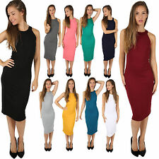 LADIES WOMENS CELEBRITY INSPIRED HALTER NECK KIM KARDASHIAN MIDI BODYCON DRESS