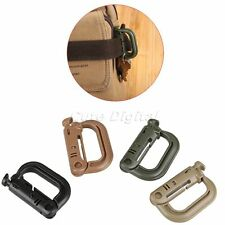 Tactical Molle EDC Backpack Shackle Carabiner Snap D-Ring Clip Buckle Keychain