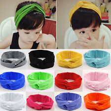 Hot Girls Kids Baby Cotton Bow Hairband Headband Stretch Turban Knot Head Wrap