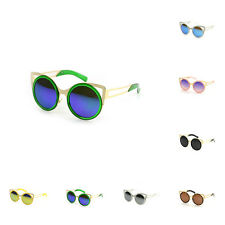 Cat Eye Round Womens Sunglasses Eyewear Cutout Round Metal Frames Style SDE