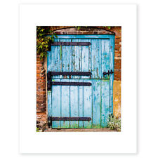 Rustic Wall Art, Distressed Wood, Blue Texture, Barn Door Photographic Print