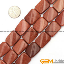 """Natural 15x20mm Assorted Stones Rectangle Twist Beads For Jewelry Making 15"""""""