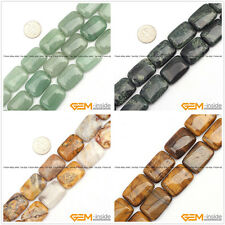 """Natural 18x26mm Assorted Stones Rectangle Beads For Jewelry Making Strand 15"""""""
