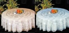 """NEW Luxury 60"""" Round Lace Vinyl Tablecloth White or Cream/Beige"""