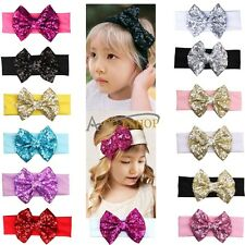 Newborn Girl Baby Sequin Headband Big Bow Flower Hair Band Accessories Headwear
