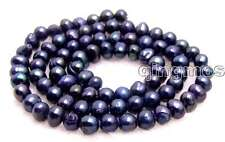 """SALE small 4-5mm Black Natural Freshwater round  Pearl Loose Bead 14""""-los635"""