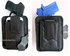 Leather Concealed Carry Belt Holster w/ cell Phone Pouch for choose gun & color