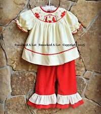 Smocked A Lot Christmas Nativity Scene Cream Red Corduroy Ruffled Pants Outfit