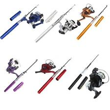 Portable Mini Aluminum Pocket Pen Shape Fishing Fish Rod Pole + Baitcasting Reel
