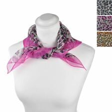 Women Colourful Leopard Scarf Animal Printed, Square Light Weight Scarves