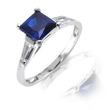 White Gold Finish Princess Cut Blue Sapphire Engagement Wedding Silver Ring