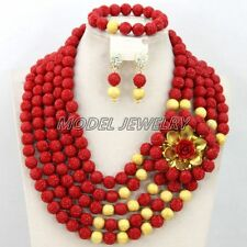 African Wedding Coral Beads Necklace Set,African Nigerian Beaded Jewelry Set