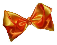 New Girls Luxurious Two Tone Satin Ribbon Boutique Hair Bow Alligator Clip 5073