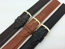 20mm LONG Black Brown Hadley Roma Genuine Lizard Grain Leather Watch Band MS716