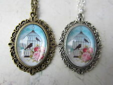 "Vintage Blue Pink Bird Cage Print Cameo 18"" Necklace Bronze / Silver New in Bag"