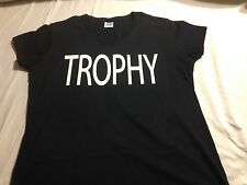 """CONTROVERSIAL TARGET STORE, WOMEN'S """"TROPHY"""" Wife SHIRT Black V-Neck"""