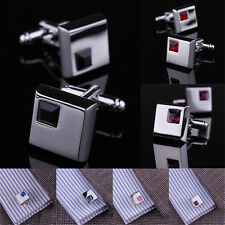 Mens Wholesale Silver Shirt Crystal Cufflinks Stainless Steel Wedding Business