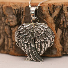 925 Sterling Silver 3D Love Heart Angel Wing Locket Pendant Chain Necklace w Box