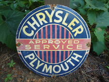 OLD 1940'S CHRYSLER PLYMOUTH APPROVED SERVICE   PORCELAIN  ADVERTISING SIGN