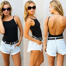 Womens Sexy Spaghetti Strap Backless Bodysuit Jumpsuit Blouses Leotard Body Tops