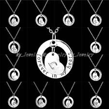 Women Silver A-Z Initials Forever In My Heart Birthday Jewelry Pendant Necklace