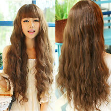 Fashion Lady Long Wavy Curly Hair Full Wig Cosplay Party Brown Natural Wig