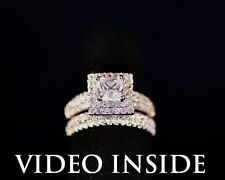 """Rare""""*3.8CT 2Pcs Engagement Diamond Ring Set Fine.22KT S.Silver Made in Italy"""