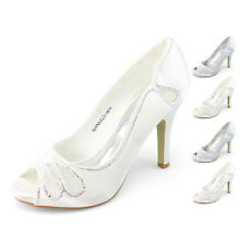 womens silver evening shoes peep toe rhinestone high heels white party pump sexy