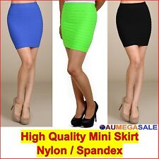 Mini Skirt Solid Pencil Tight Stretchable Vertically Pintuck Spandex one size