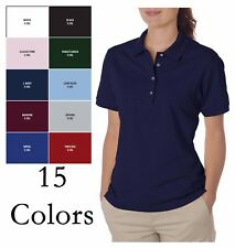 JERZEES  Women's Short Sleeve Polo Shirt Top 5.6 oz 50/50 w/ SpotShield 437W